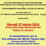 27 marzo 2014 – Cartellone Generale Prima Giornata Nazionale del Teatro in Carcere