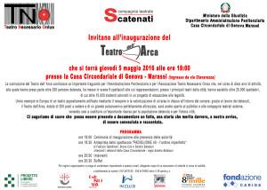 5 maggio Invito inaugurazione TEATRO DELL'ARCA a Genova
