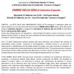 """21-22 febbraio 2018 – PROIEZIONE """"OMBRE DELLA SERA"""", Torino"""